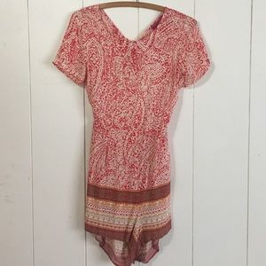 Red printed open back romper